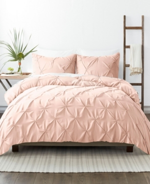 Ienjoy Home Home Collection Premium Ultra Soft 3 Piece Pinch Pleat Duvet Cover Set, King/california King Bedding In Blush
