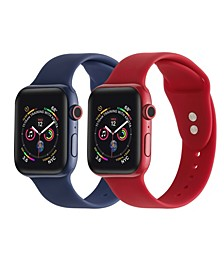Men's and Women's Red Navy 2 Piece Silicone Band for Apple Watch 38mm