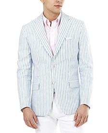 Men's Slim-Fit Blue Stripe Blazer