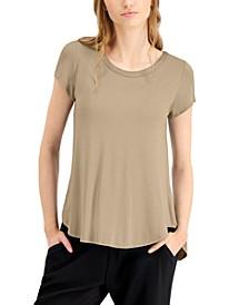 Satin-Trim High-Low T-Shirt, in Regular & Petite, Created for Macy's