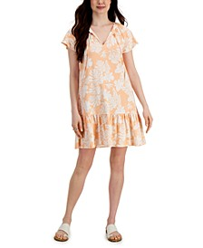 Petite Flutter-Sleeve Printed Dress, Created for Macy's