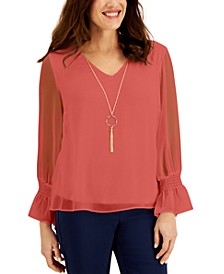 Smocked-Sleeve Necklace Top, Created for Macy's