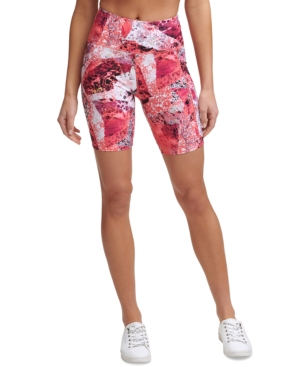 Calvin Klein Performance Printed High-waist Bike Shorts In Carboante Berry