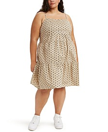 Plus Size Cotton Clea Printed Tiered Dress