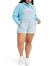Plus Size Cotton Cuffed Shortalls