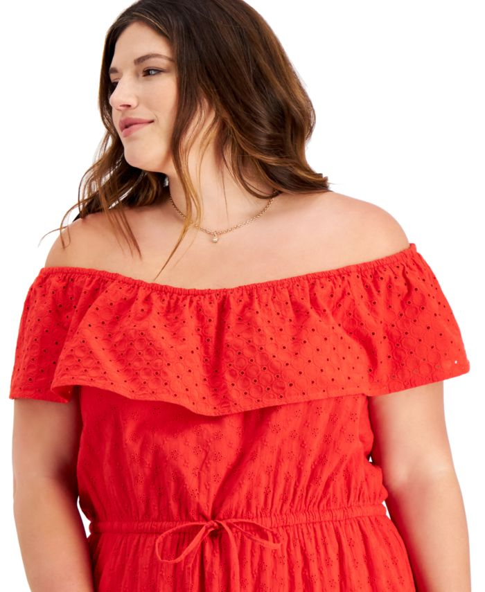 Style & Co Plus Size Eyelet Maxi Dress, Created for Macy's & Reviews - Dresses - Plus Sizes - Macy's