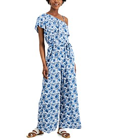 INC Printed One-Shoulder Jumpsuit, Created for Macy's