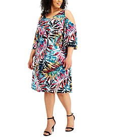Plus Size Cold-Shoulder Palm-Print Dress