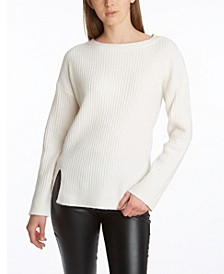 Women's Side Slit Long Sleeve Sweater