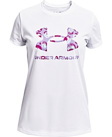 Big Girls Tech Big Logo Print Fill Short Sleeve Tee