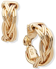 Gold-Tone Small Braided Clip-On Hoop Earrings, 0.75""