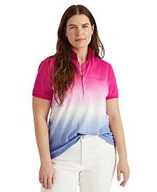 Plus Size Dip-Dyed Polo Top