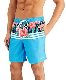 Men's Regular-Fit Quick-Dry UPF 50+ Floral Stripe Swim Trunks