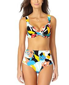 Twist-Front Bikini Top & Smocked Swim Bottoms