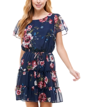 Juniors' Printed Tiered Fit & Flare Dress