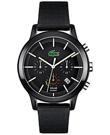 Men's Chronograph Solar 12.12 Black Cotton Strap Watch 44mm