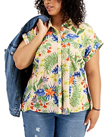 Plus Size Printed Camp Shirt, Created for Macy's