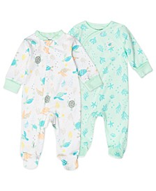 Baby Boys or Girls Sleep Play Sleepsuit with Pastel Turtle Print, 2 Pack