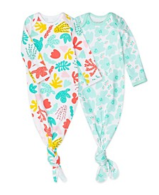 2-Pack Organic Cotton Baby Gown in Coral Reef Print