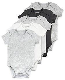 Baby Boys or Girls Short Sleeve Bodysuits, 5 Pack