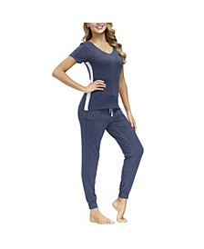 Women's V-neck Tee with Joggers, 2 Pieces