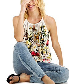 INC Petite Printed Embellished Keyhole-Cutout Halter Top, Created for Macy's