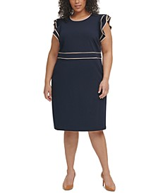 Plus Size Piped Flutter-Sleeve Dress