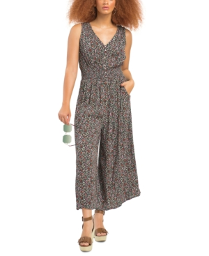 Smocked-Waist Cropped Jumpsuit