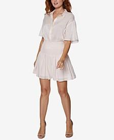 Smocked-Waist Shirtdress