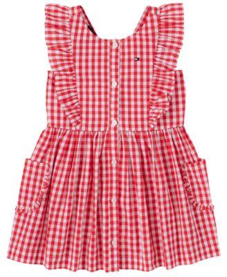 Toddler Girls Gingham Pinafore Dress