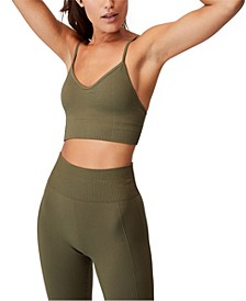Women's Lifestyle Seamless V-Neck Rib Crop Top