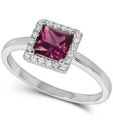 Rhodolite (1 ct. t.w.) & Diamond (1/10 ct. t.w.) Square Halo Ring in 14k White Gold (Also in Peridot)