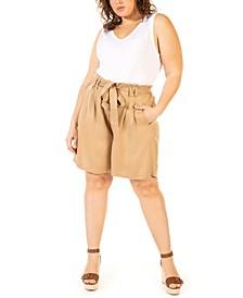 Plus Size Solid Paper-Bag Shorts