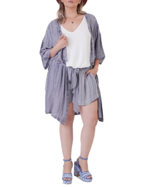 Plus Size Striped Belted Kimono