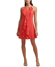 Halter-Neck Ruffle Dress