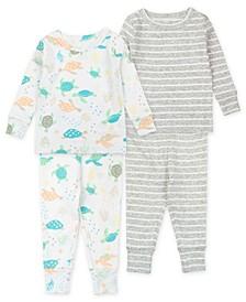 Baby Boys and Girls Turtle Pajama Set, 4 Piece