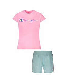 Little Girls Watercolor Script Tee and Shorts Set