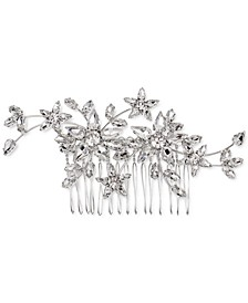 INC Silver-Tone Crystal Flower Sprig Hair Comb, Created for Macy's
