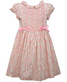 Little Girls Short Sleeve Poplin Dress with Bodice