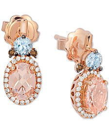 Multi-Gemstone (1-1/4 ct. t.w.) & Diamond (1/5 ct. t.w.) Drop Earrings in 14k Rose Gold