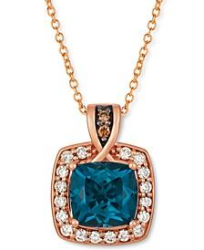 "Deep Sea Blue Topaz™ (2-1/5 ct. t.w.) & Diamond (1/3 ct. t.w.) Halo 18"" Pendant Necklace in 14k Rose Gold"