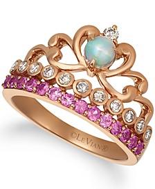 Multi-Gemstone (5/8 ct. t.w.) & Nude Diamond (1/4 ct. t.w.) Tiara Ring in 14k Rose Gold