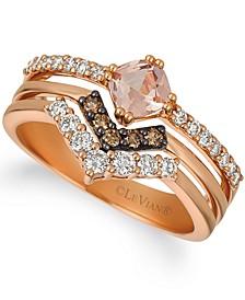 Peach Morganite (3/8 ct. t.w.) & Diamond (1/2 ct. t.w.) Stack Look Ring in 14k Rose Gold