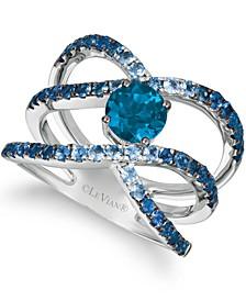 Deep Sea Blue Topaz™ (1 ct. t.w.) & Denim Ombré Sapphire (1-1/10 ct. t.w.) Openwork Crossover Ring