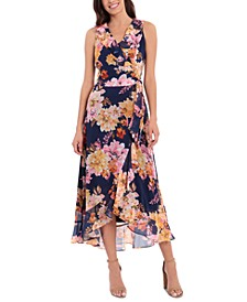 Petite Printed Ruffled Dress