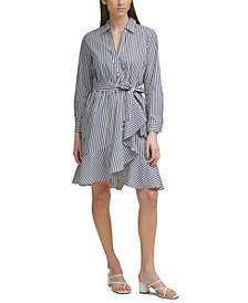 Striped Belted Ruffled Poplin Dress