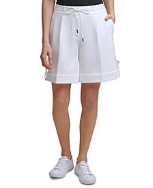 Tie-Belt Cuffed Shorts