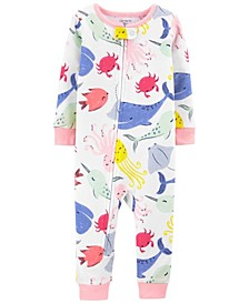 Baby Girls Whales Cotton Footless Pajamas
