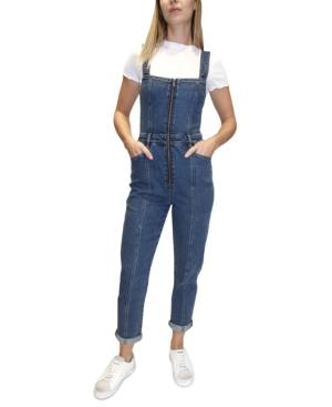 Juniors' Zippered Skinny Overalls