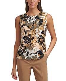 Printed Pleat-Neck Top